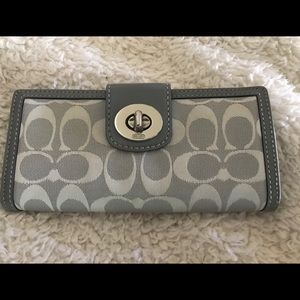 Coach Signature gray and white wallet